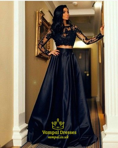 Black Illusion Long Sleeve Lace Bodice A-Line Two Piece Formal Dress