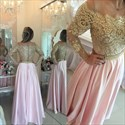 Gold Lace Off The Shoulder Long Sleeve Pink Satin A Line Prom Dress