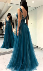 Charming Teal V-Neck Backless Tulle Lace Appliqued Long Prom Dress With Slits