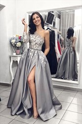 Grey One Shoulder Asymmetrical Neckline Long Sleeves Lace Overlay Prom Dress
