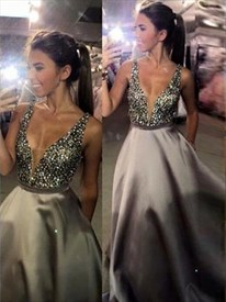 Silver Sparkly Beaded A-Line V-Neck Sleeveless Ball Gown Dress