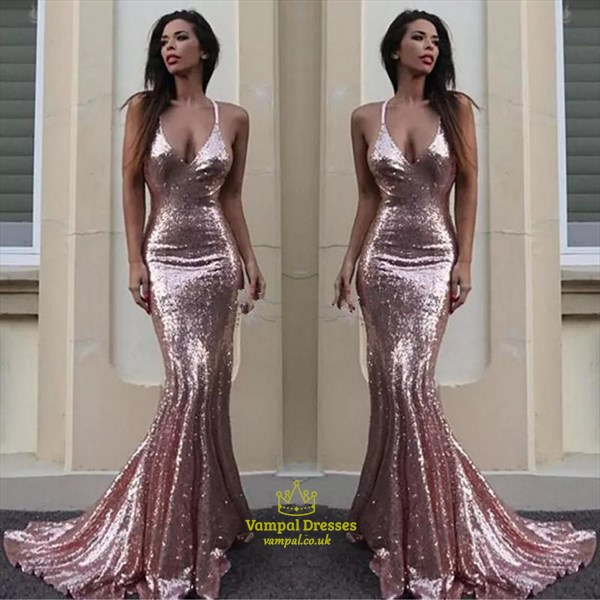Emerald Green Sequin Spaghetti Strap Mermaid Prom Dress With Open Back