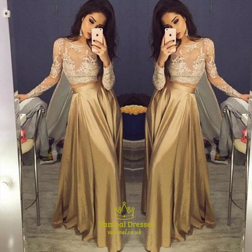 Two Piece Sheer Lace Embellished Top Long Sleeve Prom Dress