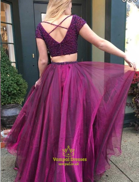 Fuchsia Two-Piece V-Neck Short Sleeve Beaded Bodice A-Line Prom Dress
