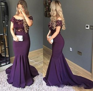 Purple Mermaid Off Shoulder Lace Top Long Prom Dress With Train
