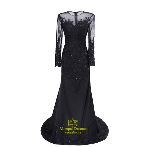 Black Sheer Long Sleeve Lace Applique Floor Length Mermaid Gown