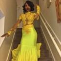Yellow Illusion Long Sleeve Lace Bodice Chiffon Prom Dress With Train