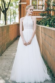 Lace Halter Top Wedding Dresses,Short Halter Top Wedding Dresses For The Beach