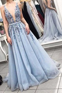 Sexy low V-neck Tulle A-Line Prom Dress