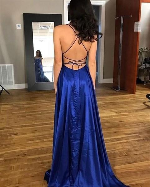 Royal Blue Halter Side Slit Sleeveless Open Back Long Prom Dress