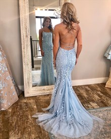 Spaghetti straps Open Back Long Prom Dress