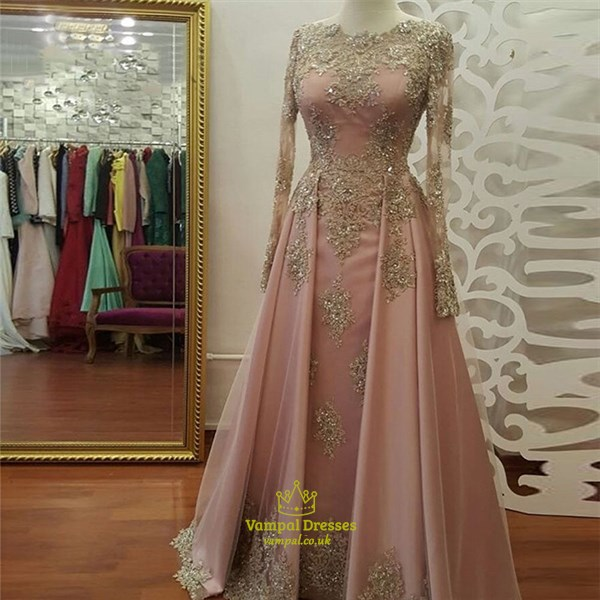 Gold Pink Lace Applique Beaded Gold Long Sleeves Ball Gown Dress