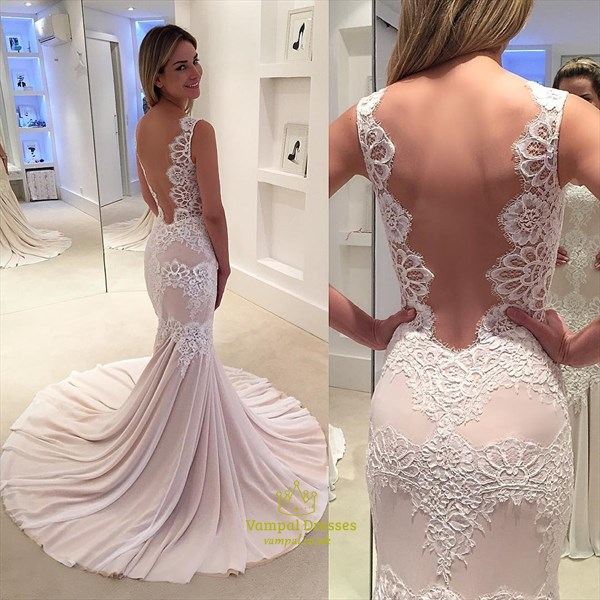 Blush Pink Lace Mermaid Open Back Bustle Sweep Train Wedding Dress