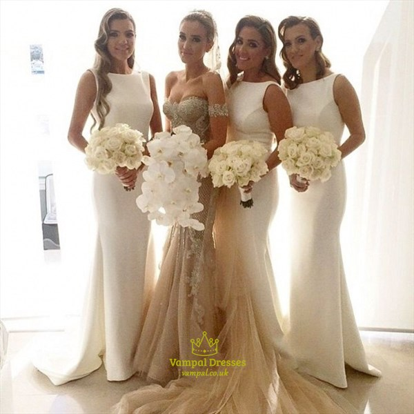 White Sleeveless Floor Length Satin Sweep Mermaid Bridesmaid Dress