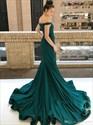 Mermaid Off-the-Shoulder Sweep Brush Chapel Train Sequins Prom Dress
