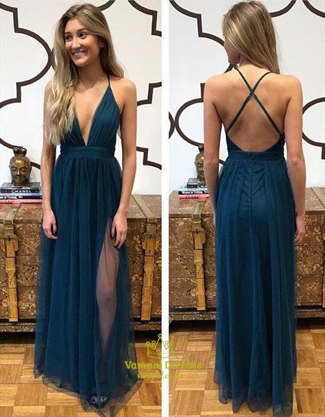 Sexy Deep V-Neck Corss Spaghetti Straps Long Prom Dress