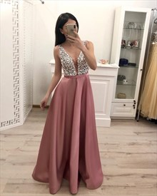 Sparkly Beading Top Straps Satin Evening Dresses