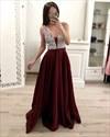 Sparkly Beading Top Straps Satin Evening Dresses