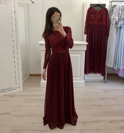 Burgundy Long Sleeves Lace Overlay Prom Dress