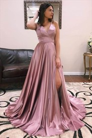 Long Blush Pink A Line High Slits Sexy Prom Dress