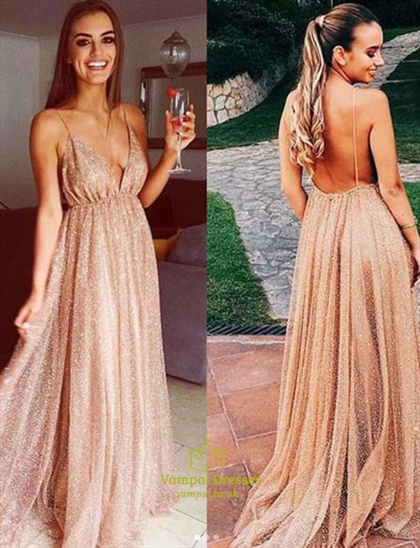 Champagne Open Back Deep V Neck  Prom Dress With Train