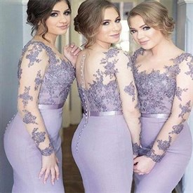 Lilac Lace And Chiffon Long Sleeves Mermaid Bridesmaid Dress