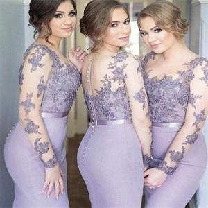 Lilac Lace And Chiffon Long Sleeves Mermaid Bridesmaid Dress