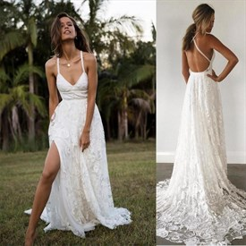Charming Lace Long Open Back Spaghetti Straps Wedding Dress