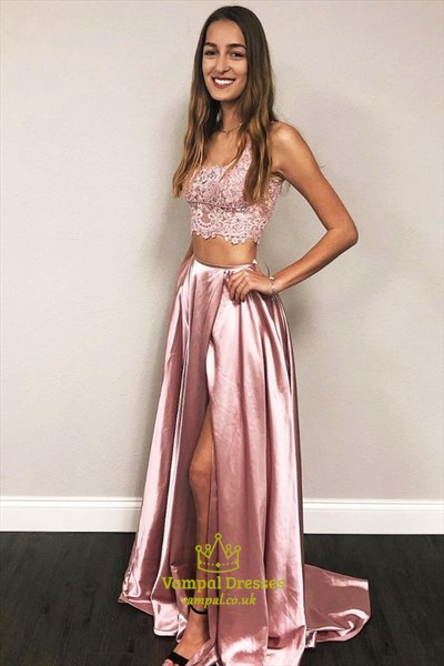 Two Pieces Long Blush Pink Lace Top Prom Dress