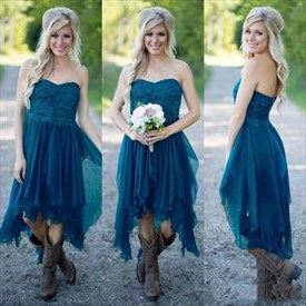 Dark Teal Short Asymmetrical Bridesmaid Dress With Beaded Embroidery