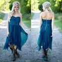 Dark Teal Short Asymmetrical Bridesmaid Dress With Beaded Embroidery