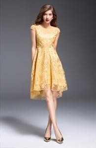 Sheer Illusion Neckline Embroidered Floral Skater Dress