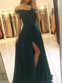 Emerald Green Off The Shoulder Lace Applique Evening Dress With Split