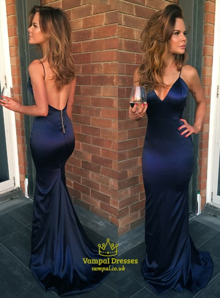 Navy Blue V-Neck Spaghetti Strap Mermaid Prom Dress With Back Cutouts