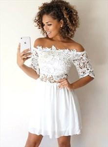 Off The Shoulder Lace Embellished Cocktail Dresses With Short Sleeve
