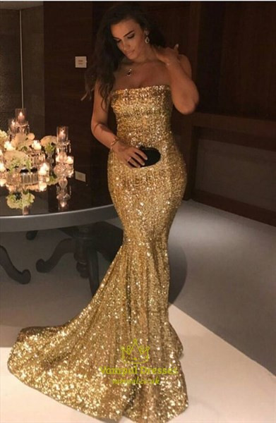Sparkly Gold Sequin Strapless Floor Length Mermaid Prom Dress