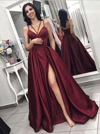 Long Burgundy Satin Spaghetti Strap Prom Dress With Criss Cross Back