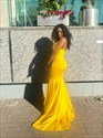 Yellow Sweetheart Long Mermaid Bridesmaid Dresses With Straps