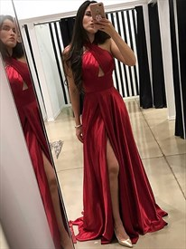 Red Criss Cross Front Halter Ruched Wrap Prom Dresses With Side Slits