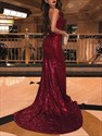 Burgundy Backless Sequin Spaghetti Strap Prom Dresses With Open Side