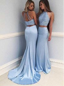 Sky Blue Two-Piece Sleeveless Prom Dresses With Jewel-Embellished Top