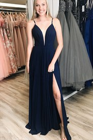 Navy Blue V-Neck  Long Chiffon Spaghetti Straps Prom Dress With Split