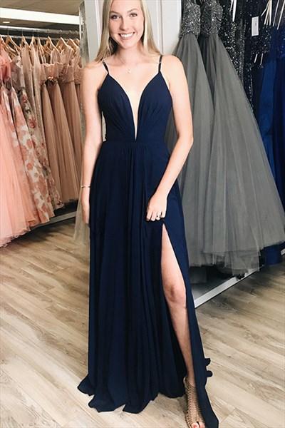 Navy Blue V-Neck  Long Chiffon Spaghetti Straps Prom Dress With Split