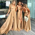 Gold A-Line V-Neck Sleeveless Ruched Long Bridesmaid Dress With Split