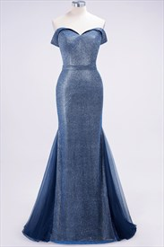 Blue Bright Silk Off The Shoulder Floor Length Mermaid Prom Dress