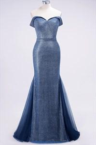 Blue Bright Silk Off The Shoulder Floor Length Mermaid Prom Dress