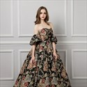 Black Strapless Satin Floral Embroidered Ball Gown With Corset Back