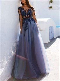 Just My Style Light Blue Tulle Fabric Lace Top Open Back Prom Dress
