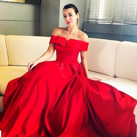 Red Satin Off The Shoulder Prom Dress