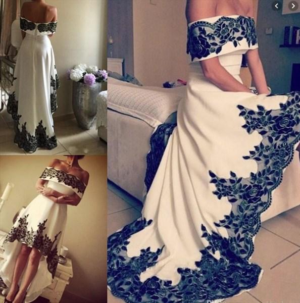 White Off The Shoulder Applique Short High Low Formal Dress